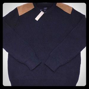 J Crew Cotton Crewneck Sweater w/Leather Patches